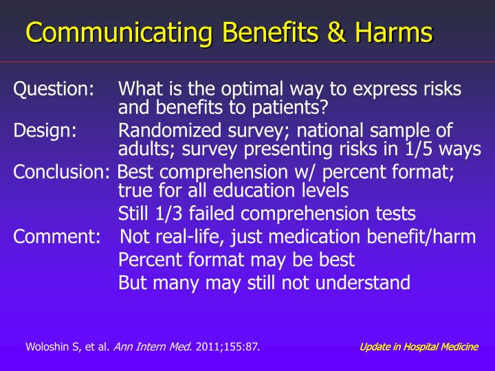 Communicating Benefits & Harms