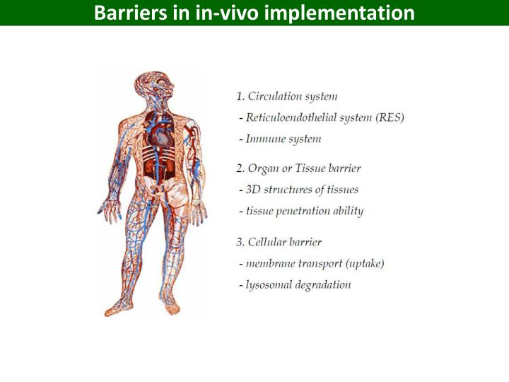 Barriers in in-vivo implementation