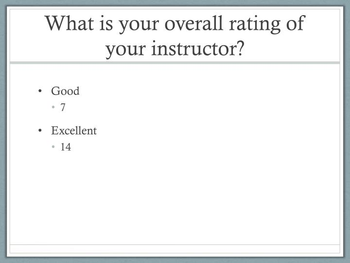 What is your overall rating of your instructor?