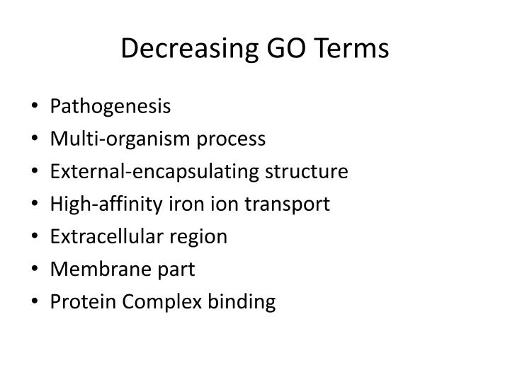 Decreasing GO Terms