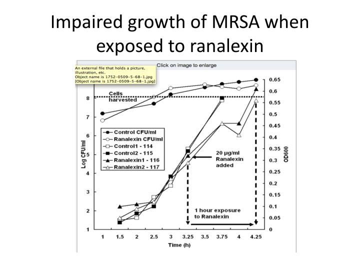 Impaired growth of MRSA when exposed to