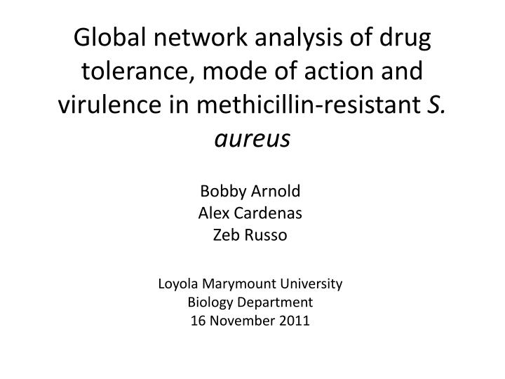 Global network analysis of drug tolerance, mode of action and virulence in