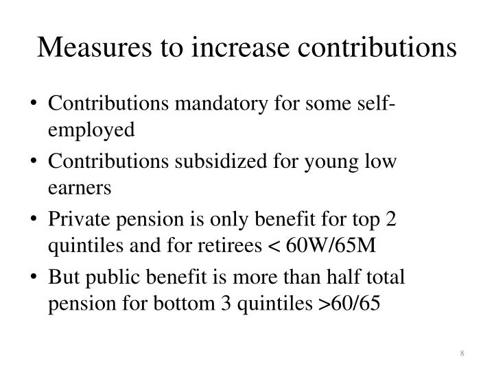 Measures to increase contributions