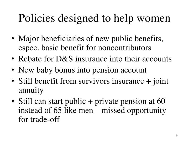 Policies designed to help women