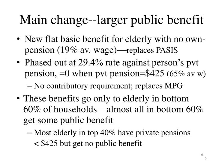Main change--larger public benefit