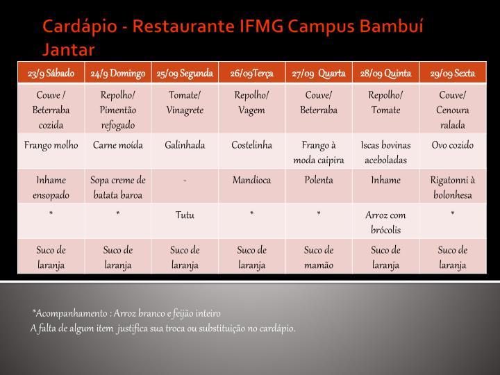 Card pio restaurante ifmg campus bambu jantar