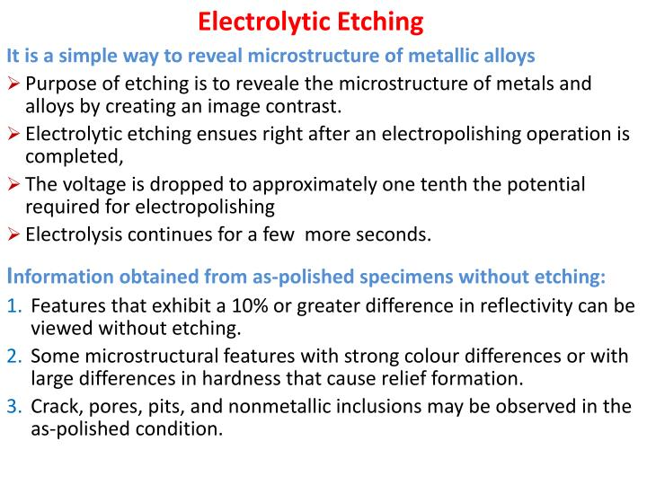 PPT - Electrolytic Etching PowerPoint Presentation - ID:1918127