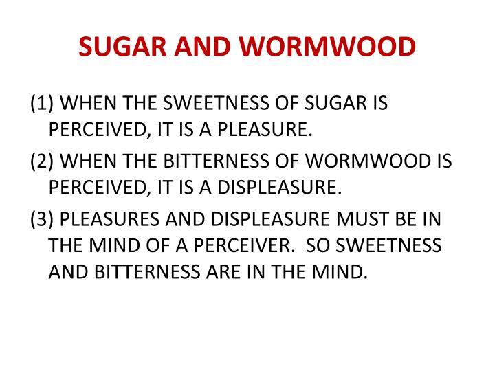 SUGAR AND WORMWOOD