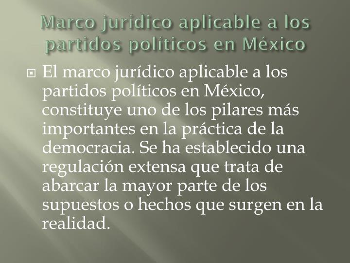 Marco jurídico aplicable a los partidos políticos en México