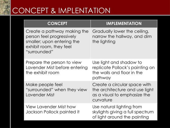 CONCEPT & IMPLENTATION