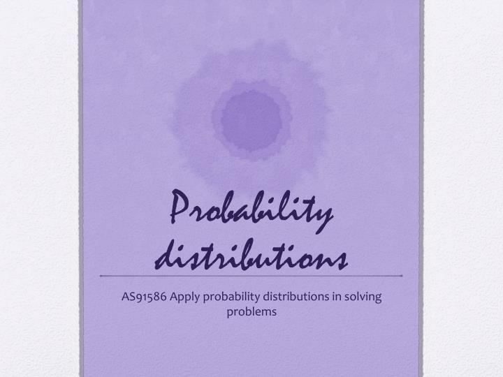 probability distributions n.