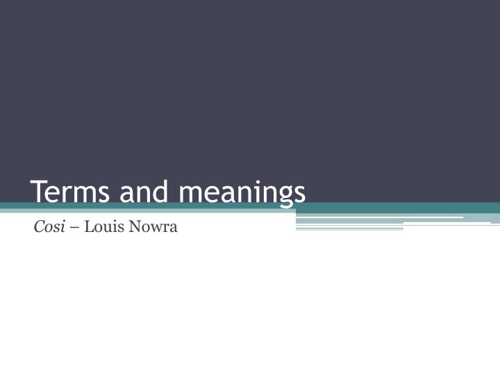 terms and meanings n.