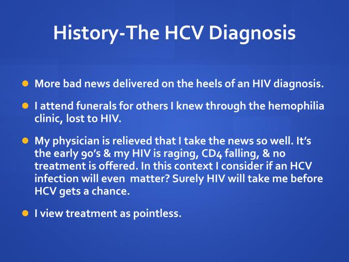 History the hcv diagnosis