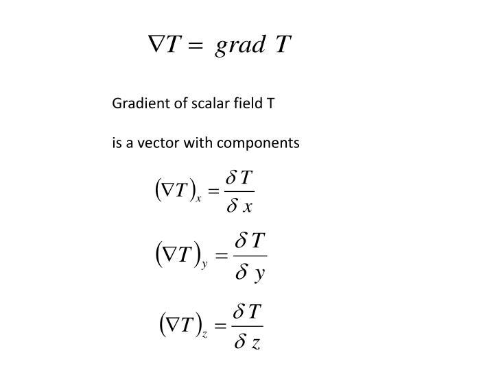 Gradient of scalar field T