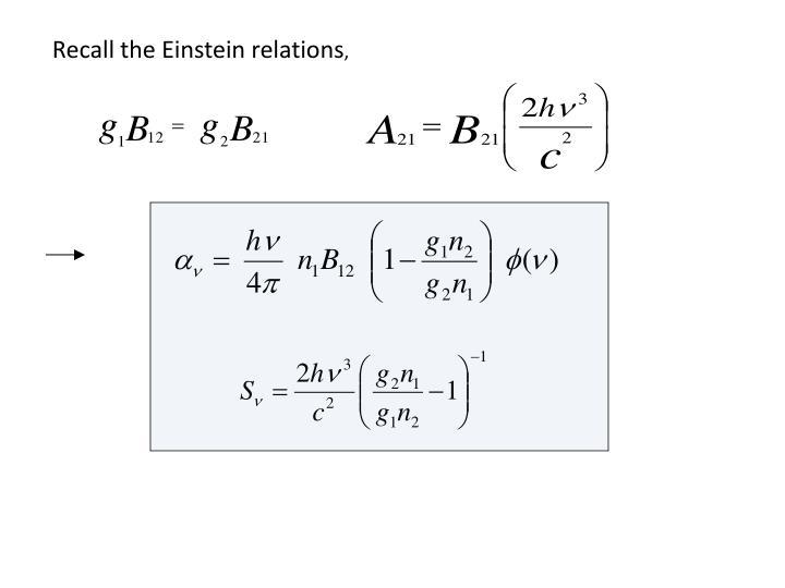 Recall the Einstein relations