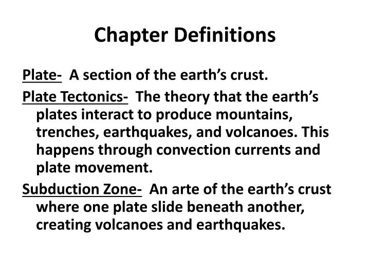 Chapter Definitions