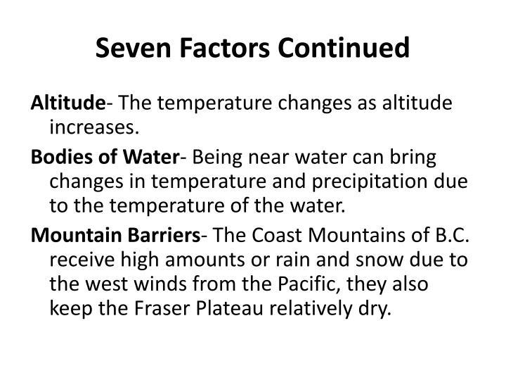 Seven Factors Continued