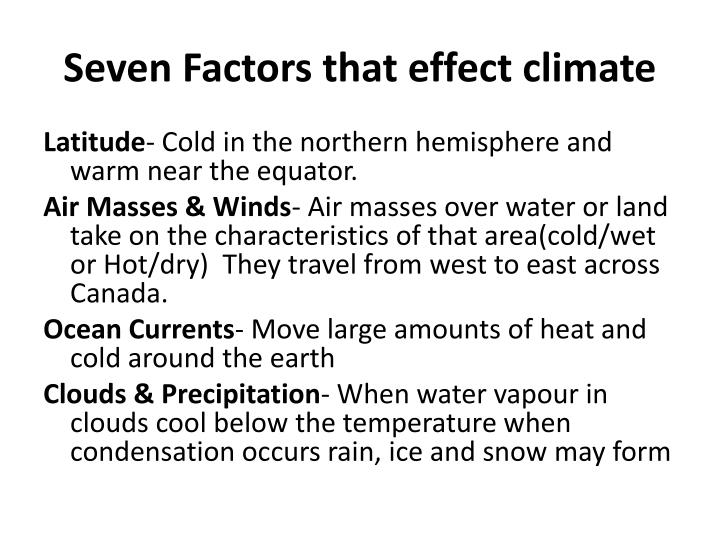 Seven Factors that effect climate