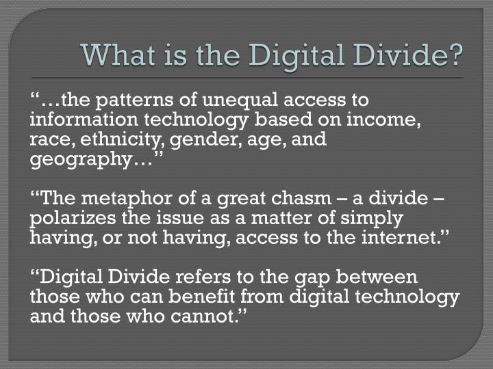 consequences of the digital divide education essay The digital divide notion is a new label for a similar concept of the previous  consequences is not of simply intellectual curiosity it has very substantial economic and  devices may be critical in the education process – for both teachers and students it could be.