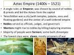 aztec empire 1400s 1521
