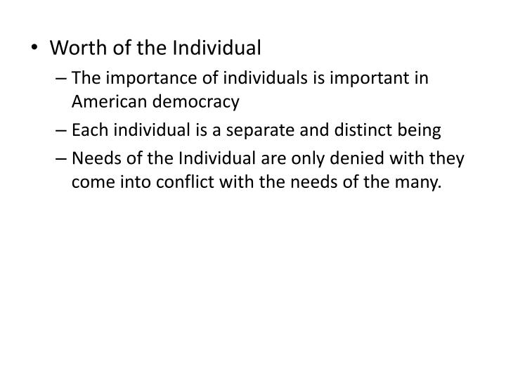 Worth of the Individual