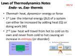 laws of thermodynamics notes endo vs exo thermic