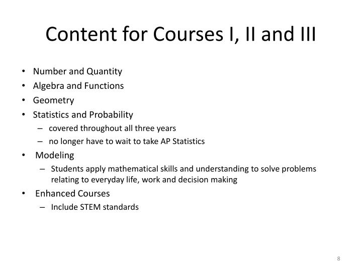 Content for Courses I, II and III