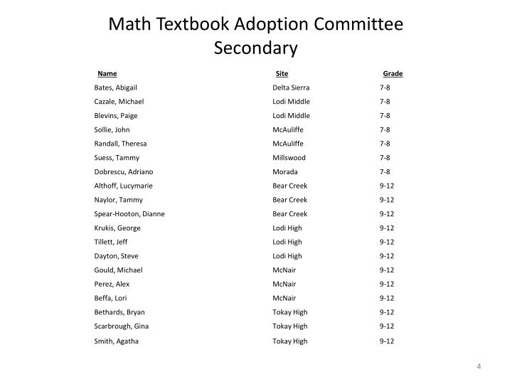Math Textbook Adoption Committee