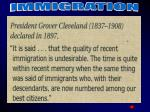 cleveland quote on immigration