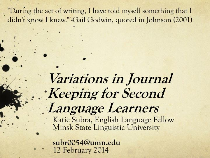 variations in journal keeping for second language learners n.