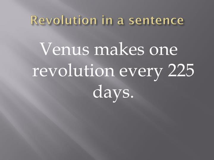 Revolution in a sentence