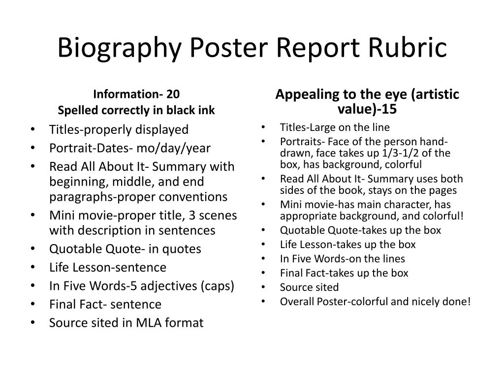 ppt biography poster report rubric powerpoint presentation id