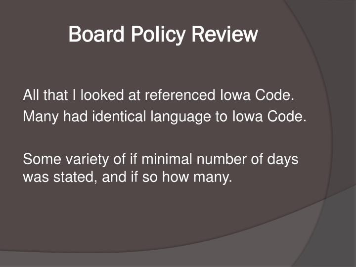 Board Policy Review