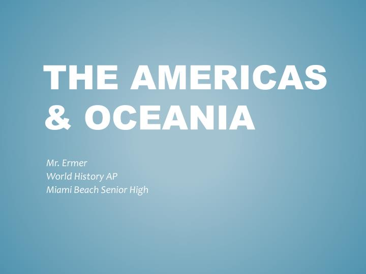 questions on the americas and oceania