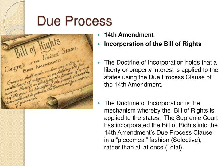 Due Process 14th Amendment Incorporation Of The Bill Of Rights