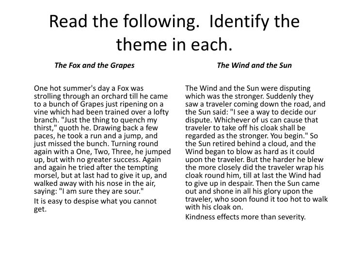Read the following.  Identify the theme in each.