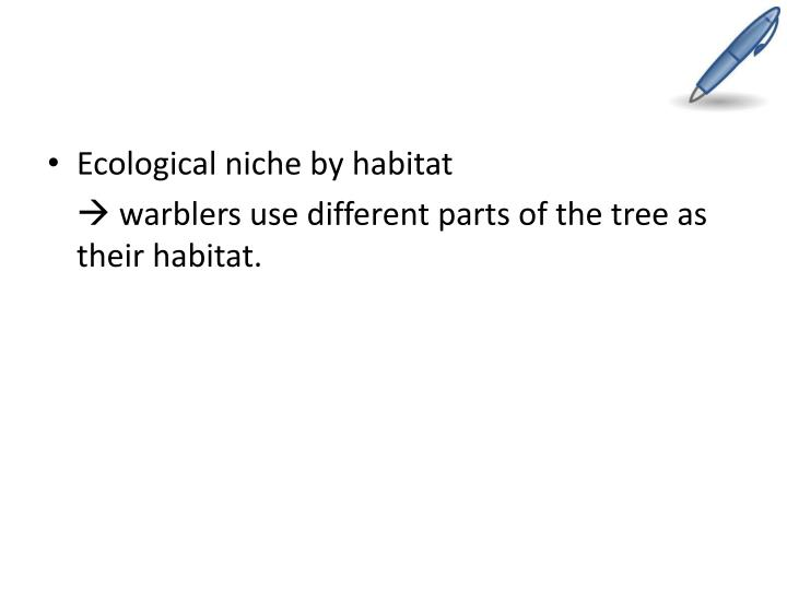 Ecological niche by habitat