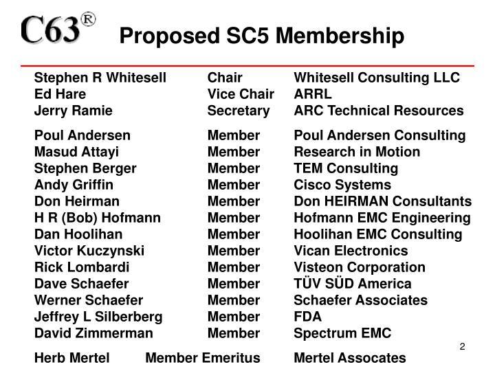 Proposed sc5 membership