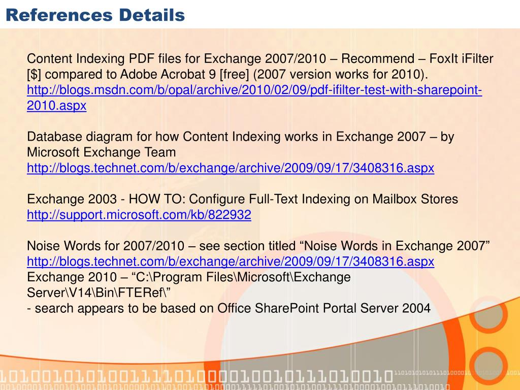 PPT - Exchange Server 2010 Search Functionality in Technical