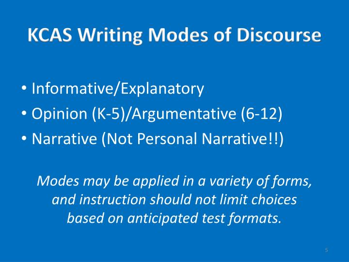 KCAS Writing Modes of Discourse