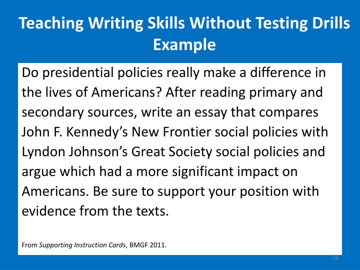 Teaching Writing Skills Without Testing Drills Example