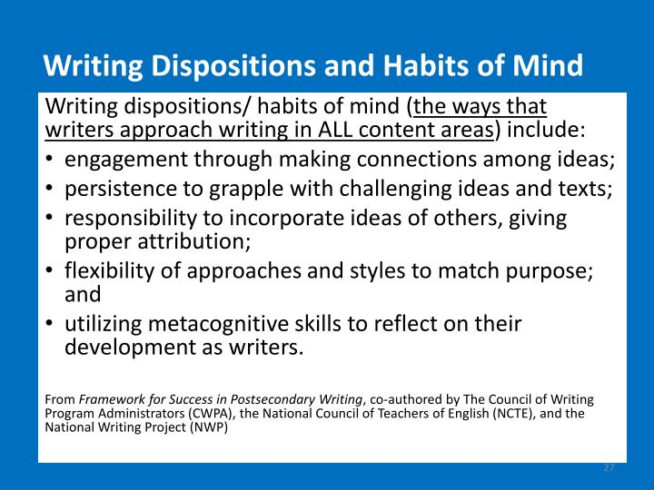Writing Dispositions and Habits of Mind