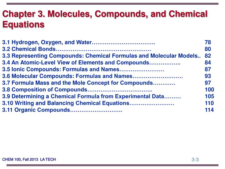 Chapter 3 molecules compounds and chemical equations