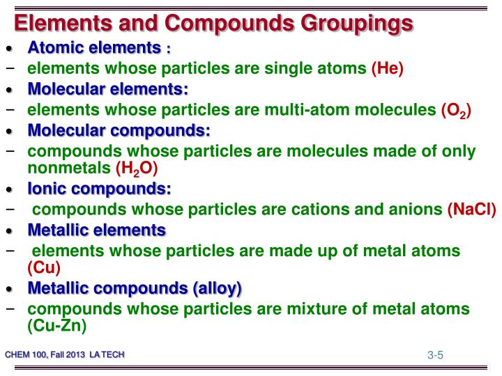 Elements and Compounds Groupings