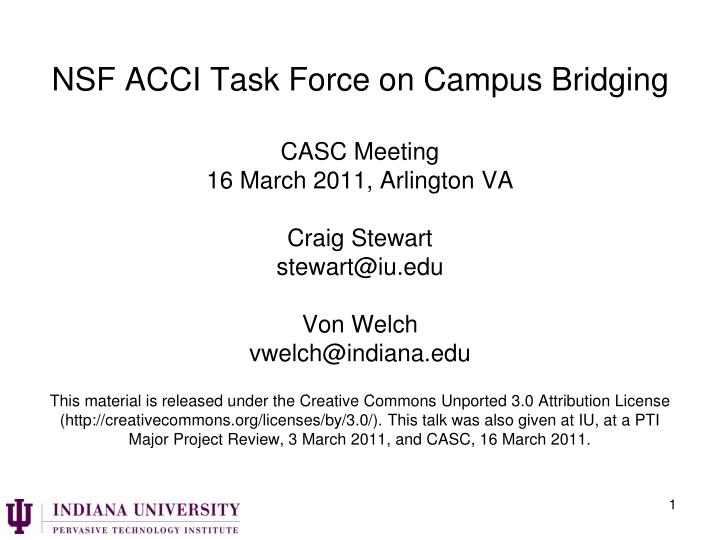 NSF ACCI Task Force on Campus Bridging