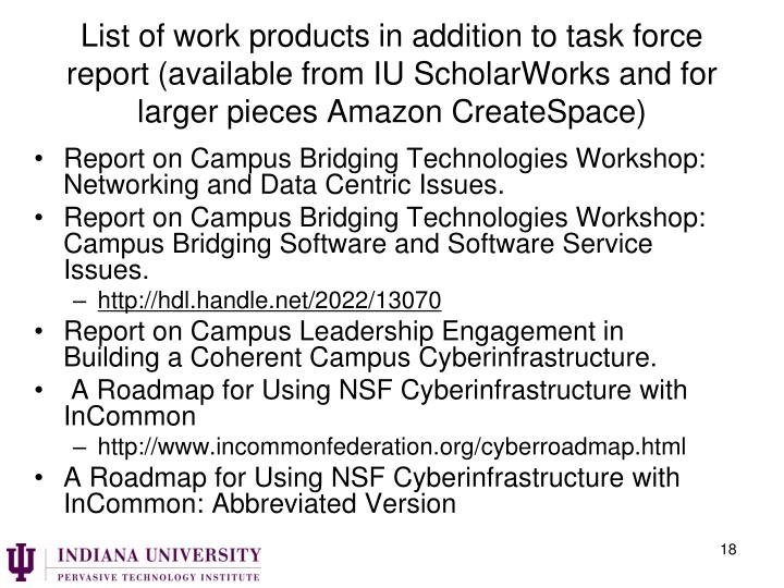 List of work products in addition to task force report (available from IU
