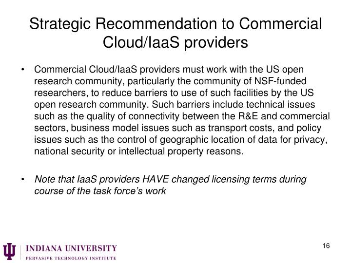 Strategic Recommendation to Commercial Cloud/