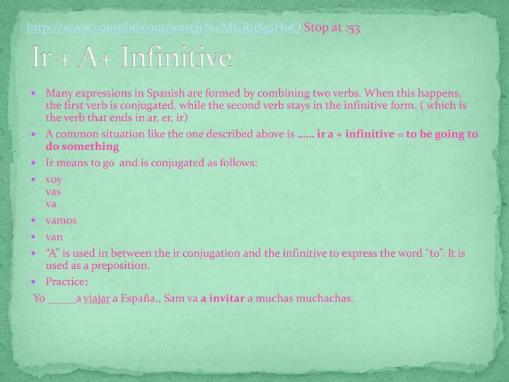 Ir + A+ Infinitive