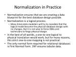 normalization in practice