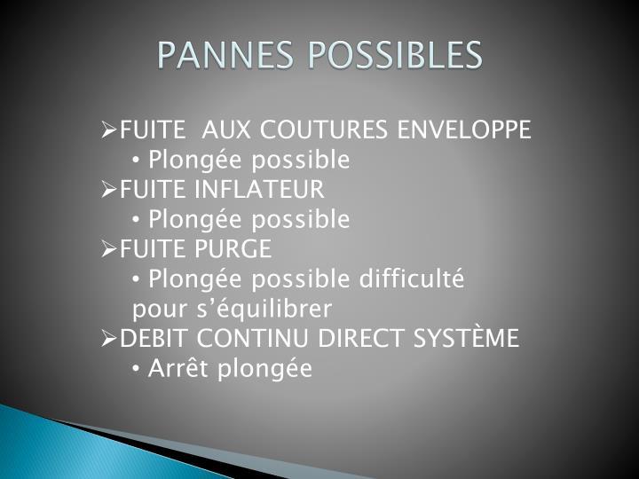 PANNES POSSIBLES